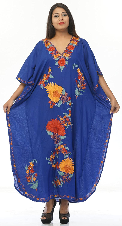 Creativegifts Cotton Kaftan Kashmiri Embroidered Maxi Long Dress for Women (color2037)
