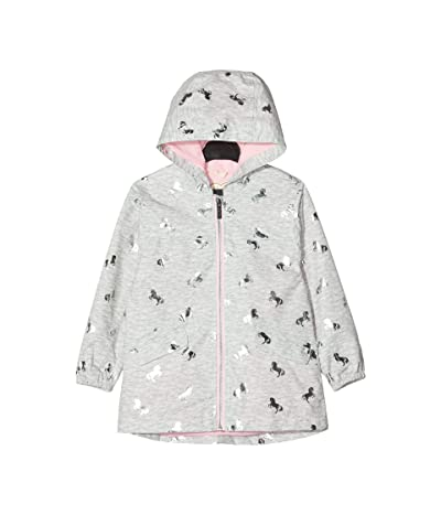 Hatley Kids Playful Ponies Microfiber Rain Jacket (Toddler/Little Kids/Big Kids) (Grey) Girl