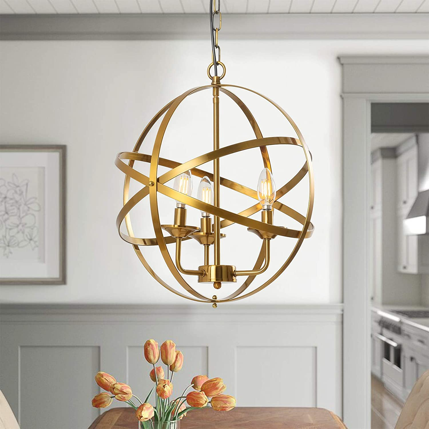 Popity home 9 Light Brass Gold Chandelier Hollow Out Metal Spherical  Pendant Light, Globe Hanging Lighting Fixture for Kitchen Island Dining  Room ...