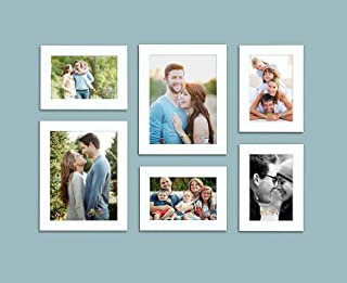 Art Street Decorous Synthetic Wood Individual Wall Photo Frame - (White) - Set of 6