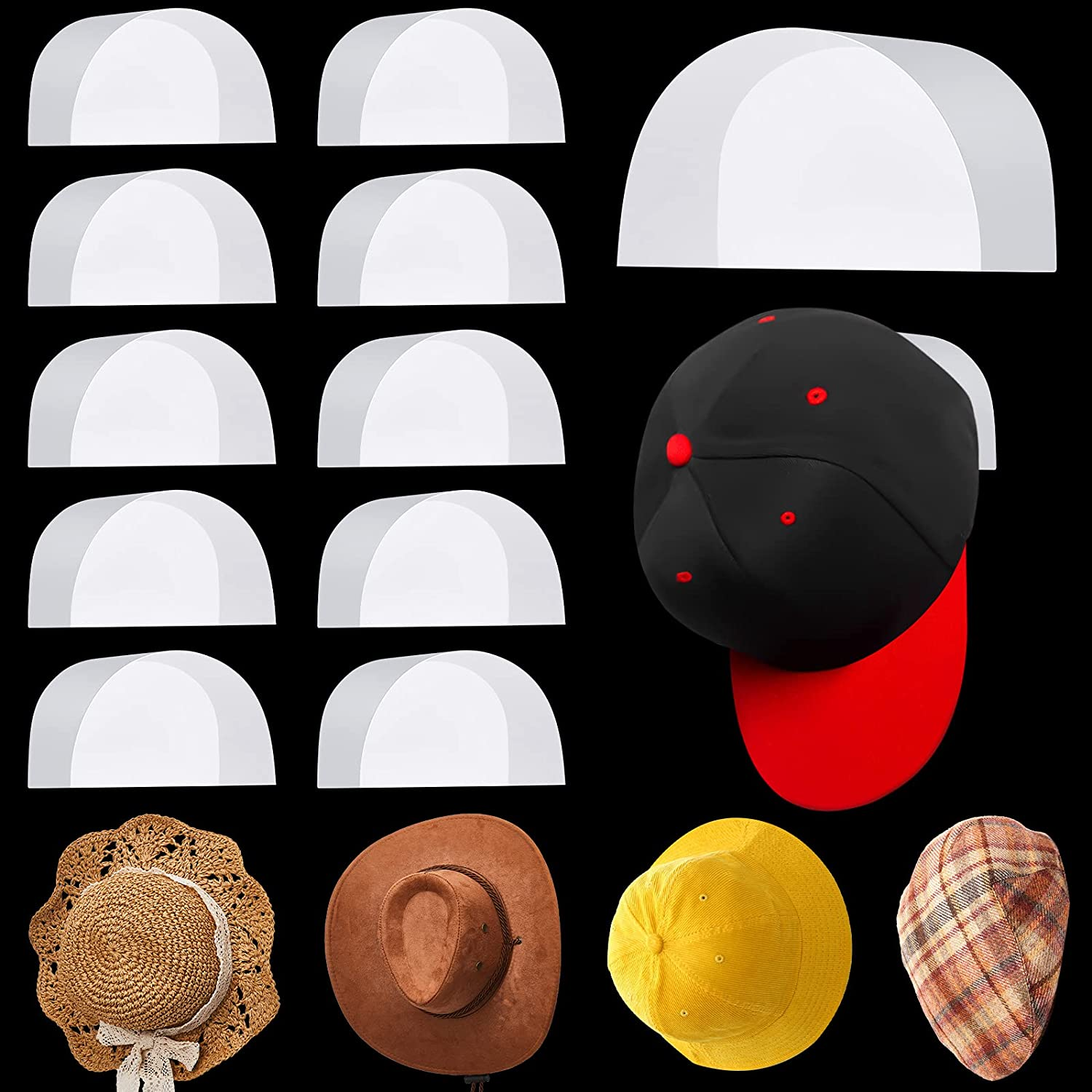 10 Our shop OFFers the best service Pieces Adhesive Online limited product Paper Hat Lightweight St Hooks Curve Rack