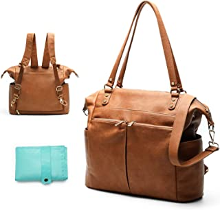 Diaper Bag Tote Mominside Leather Diaper Bag Backpack for Mom and Dad Large Travel Diaper Tote Baby Bag for Boys and Girls with Insulated Pocket, Changing Station, Shoulder Straps(Brown)