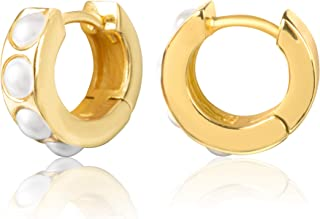 18K Yellow Gold Plated Sterling Silver Huggie Earrings with Stones for Women – Assortment of Designs and Stone Colors Avai...