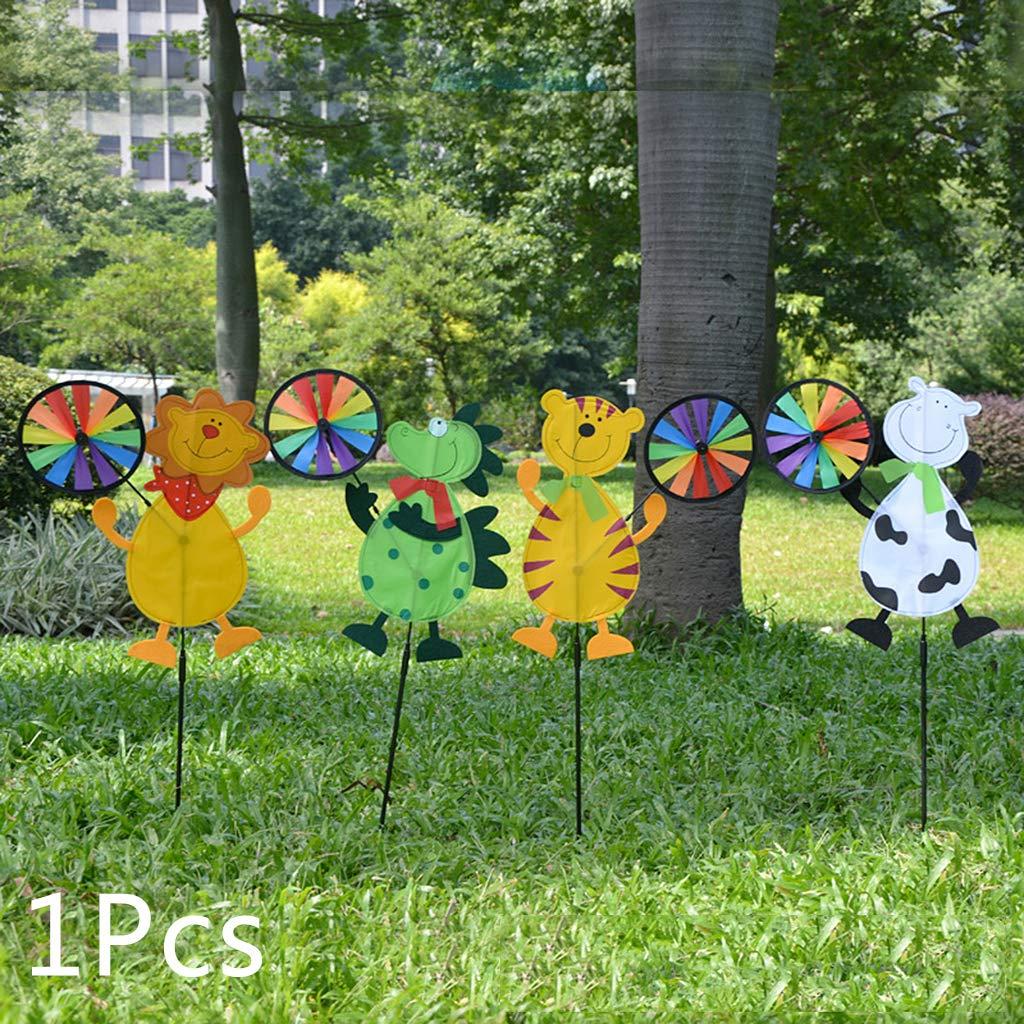 Sweo Colorido Animal de Dibujos Animados Lindo Tigre león Vaca dragón Molino de Viento hogar jardín Patio Exterior decoración Juguetes niño niños Regalo: Amazon.es: Jardín