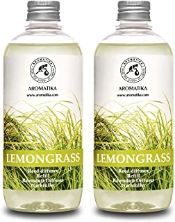 Lemongrass Diffuser Refill 34 oz (2x17oz) - Fresh & Long Lasting Fragrance - Refill with Natural Essential Lemongrass Oil ...