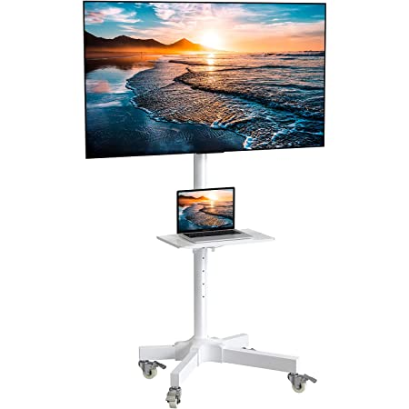 Mobile TV Cart with Wheels for 23-55 Inch LCD LED 4K Flat Curved Screen TVs - Height Adjustable Shelf Trolley Floor Stand Holds up to 55lbs - Movable Monitor Holder with Tray Max VESA 400x400mm White