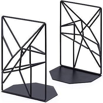 Bookends Black, Decorative Metal Book Ends Supports for Shelves, Unique Geometric Design(1 Pair/2 Pieces)
