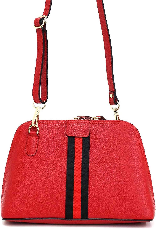 Crossbody-Tasche Umhängetasche aus echtem Leder (100% Made in ) Schultertasche Schultertasche Schultertasche mit Logostreifen und Nieten B07LCTNSK1  Exportieren ac3376
