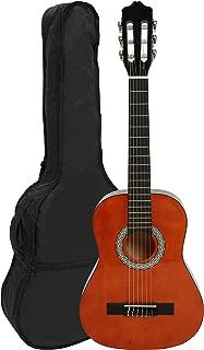 NAVARRA NV15 - Guitarra clásica 1/2 honey con bordes negro incl. funda con correas tipo mochila y bolsillo para partituras/accesorios, 2 Púa