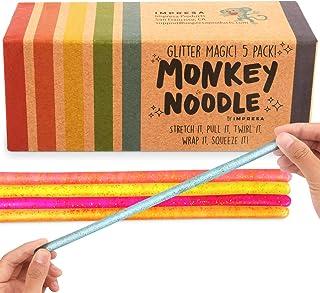 IMPRESA 5-Pack Glitter Monkey Noodle Stretchy String Fidget / Sensory Toys (BPA/Phthalate/Latex-Free) - Stretches from 10 ...
