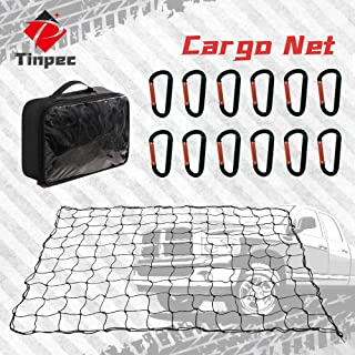 Tinpec Cargo Net, 4'x6' Super Heavy Duty Bungee for Truck Bed Car Trunk Stretches to 8'x12' with 12 Universal D Hooks Car ...