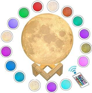WYCY Lámpara Luna Control Tactil & Remoto Luna Lámpara Impresión 3D 16 Colores Lámpara Luna LED Carga USB y Control Remoto y Soporte,Regalos Para el Cumpleaños (Lámpara Luna, 10CM)