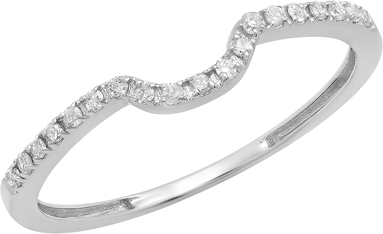 Dazzlingrock Collection 0.11 Carat (ctw) Round White Diamond Ladies Wedding Anniversary Guard Ring Band, 10K Gold
