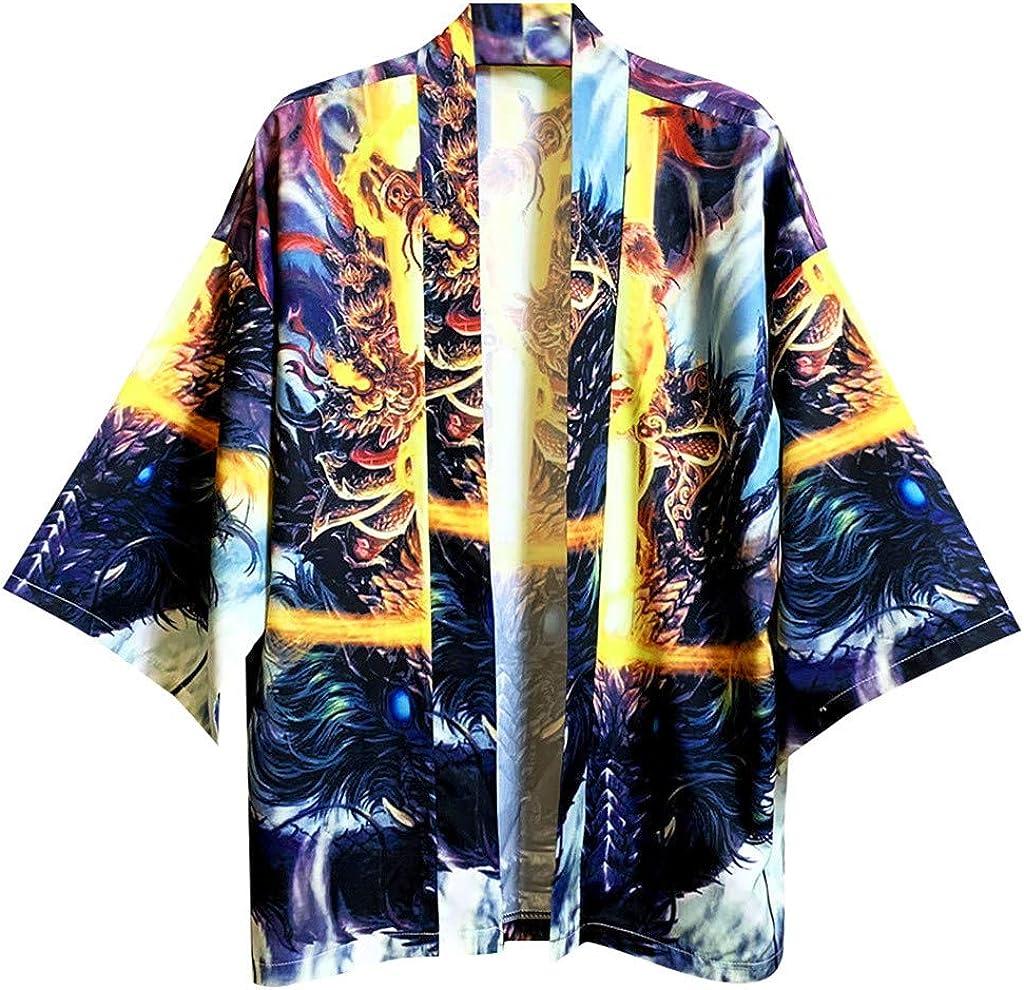 Mens Kimono Cardigan, F_Gotal Mens Lovers Kimono Cardigan 3D Fashion Print Casual Lightweight Cape Jacket and Coat