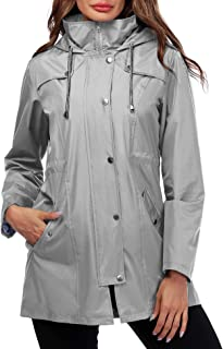Doreyi Women Rain Jacket Striped Lined Hooded Lightweight Outdoor Waterproof Raincoat