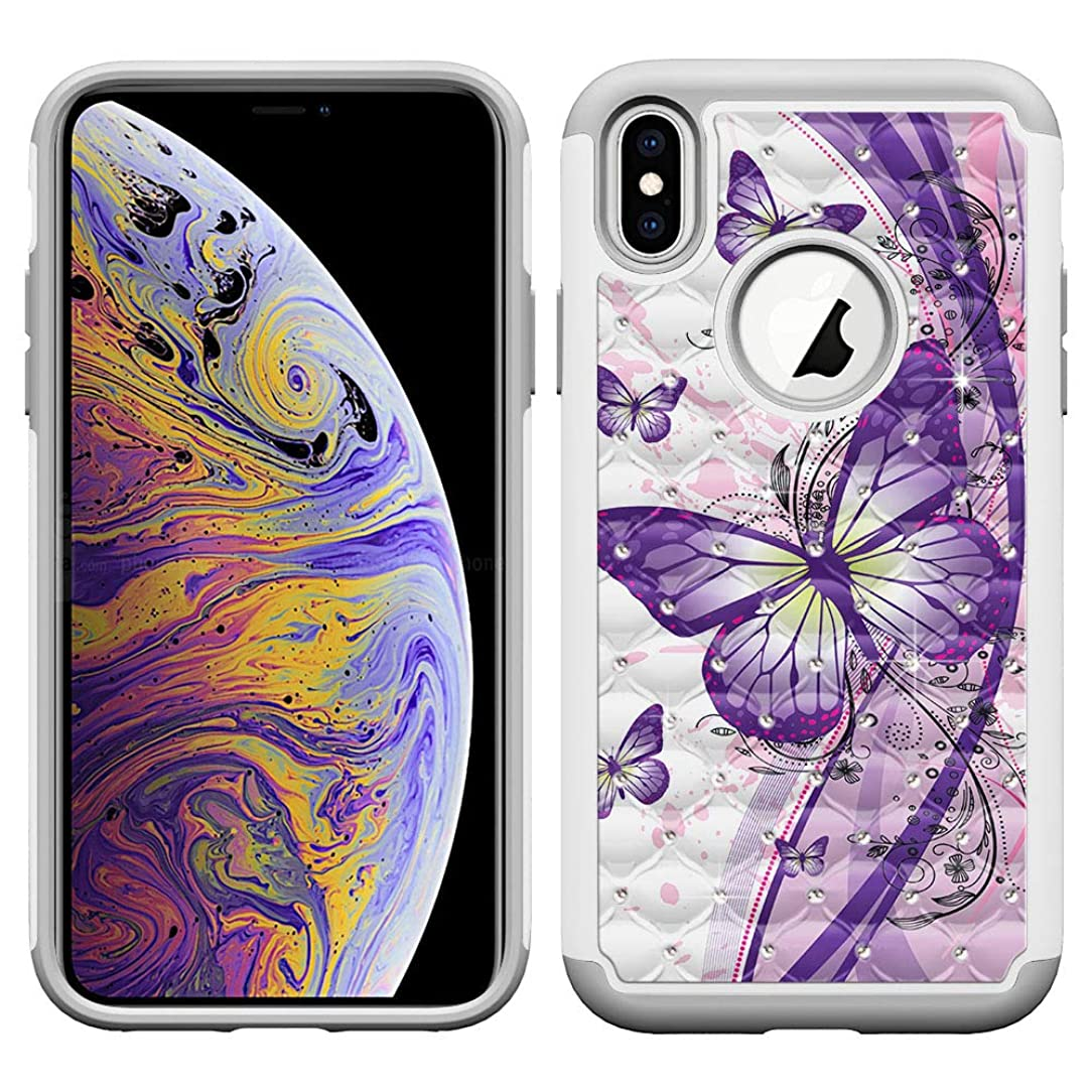 FINCIBO Case Compatible with Apple iPhone Xs Max 6.5 inch, Dual Layer Hybrid Protector Case Cover TPU Rhinestone Bling for iPhone Xs MAX (NOT FIT iPhone Xs) - Purple Butterfly (Style 2)