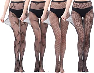 AHLW Women's Fishnet Tights & Sexy Lace Thigh High Stockings