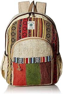 Mochila de cáñamo a rayas y de algodón colorido hecha a mano Nepal con funda para ordenador portátil – Moda lindo viaje escuela universidad bolsa de hombro/Libreras/Daypack