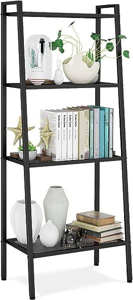 HOMFA Metal 4 Shelf Bookcase Multifunctional Ladder Shaped Plant Flower Stand Rack Bookrack Storage Shelves Black