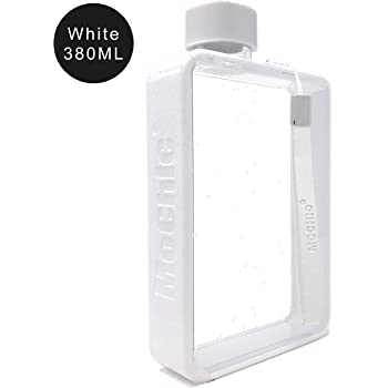 A5 Water Bottle Flat Portable Travel Mug Handbag Slim Cold 380ml (White)