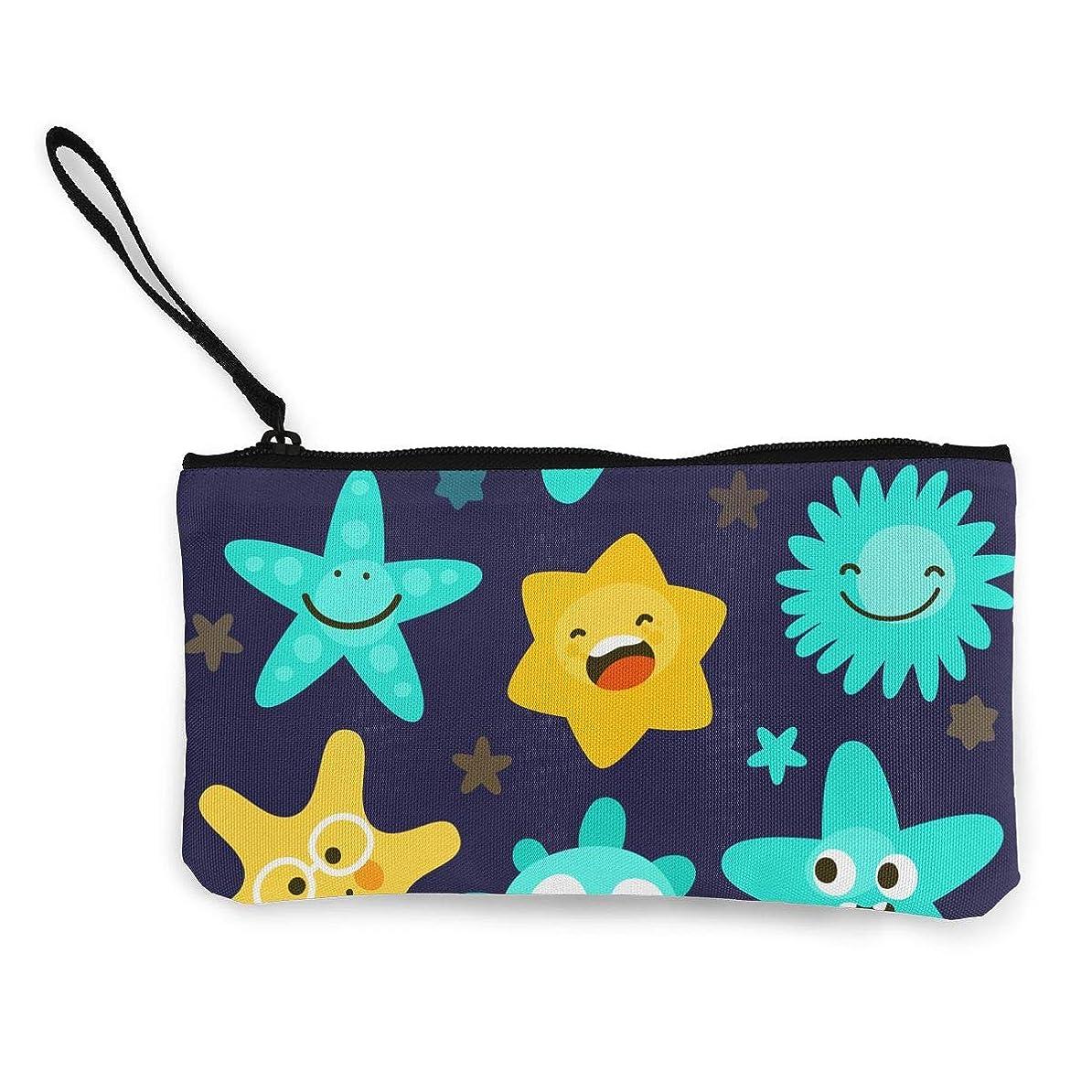 インフラ破壊テントErmiCo レディース 小銭入れ キャンバス財布 かわいい星の多様性 小遣い財布 財布 鍵 小物 充電器 収納 長財布 ファスナー付き 22×12cm
