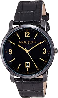 Akribos XXIV Men's AK780BK Watch with Black Leather Band