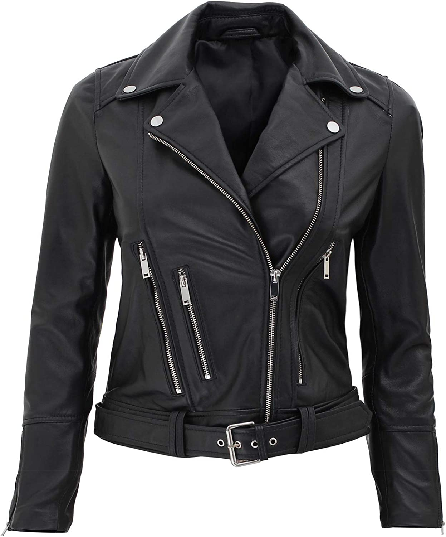 Asymmetrical Womens Leather Jacket Real Lambskin Leather Jackets for Women