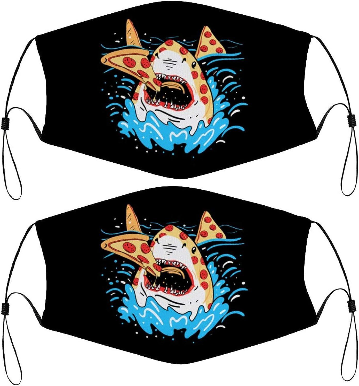 Slice of Ocean Pizza Shark Kids Face Mask Set of 2 with 4 Filters Washable Reusable Adjustable Black Cloth Bandanas Scarf Neck Gaiters for Adult Men Women Fashion Designs
