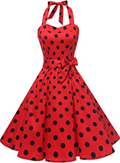 Topdress Women'sVintage Polka Audrey Dress 1950s Halter Retro Cocktail Dress