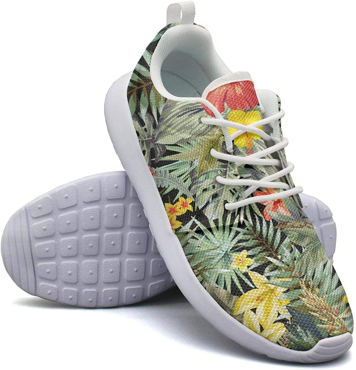 CHALi99 Comfort Ladies Lightweight Mesh shoes colorful Tropical Leaves Print Pabric Loafers Outdoor Rubber Sole