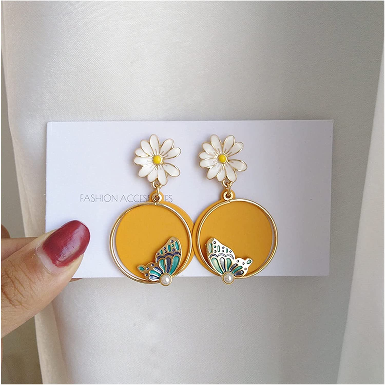 Beautiful Butterfly Ear Clip Daily Wear Personalized Flower Aesthetic Earrings for Women Student Clip on Earrings Korean Trendy (Metal Color : Light Yellow Gold Color)