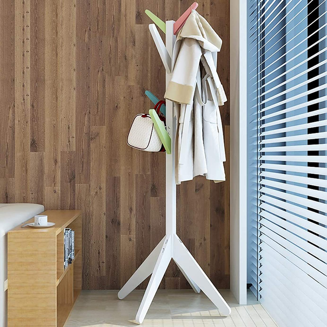 効果的反対に興味純木アセンブリ取り外し可能なハンガーコートラックフロアツリースタンド8フック帽子服スタンド用ホーム廊下乾燥 (Color : B)