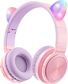Picun Bluetooth Kids Headphones, Cat Ear Wireless 85dB Volume Limiting Kitty Girl Over-Ear Headphones with Microphone, Fla...