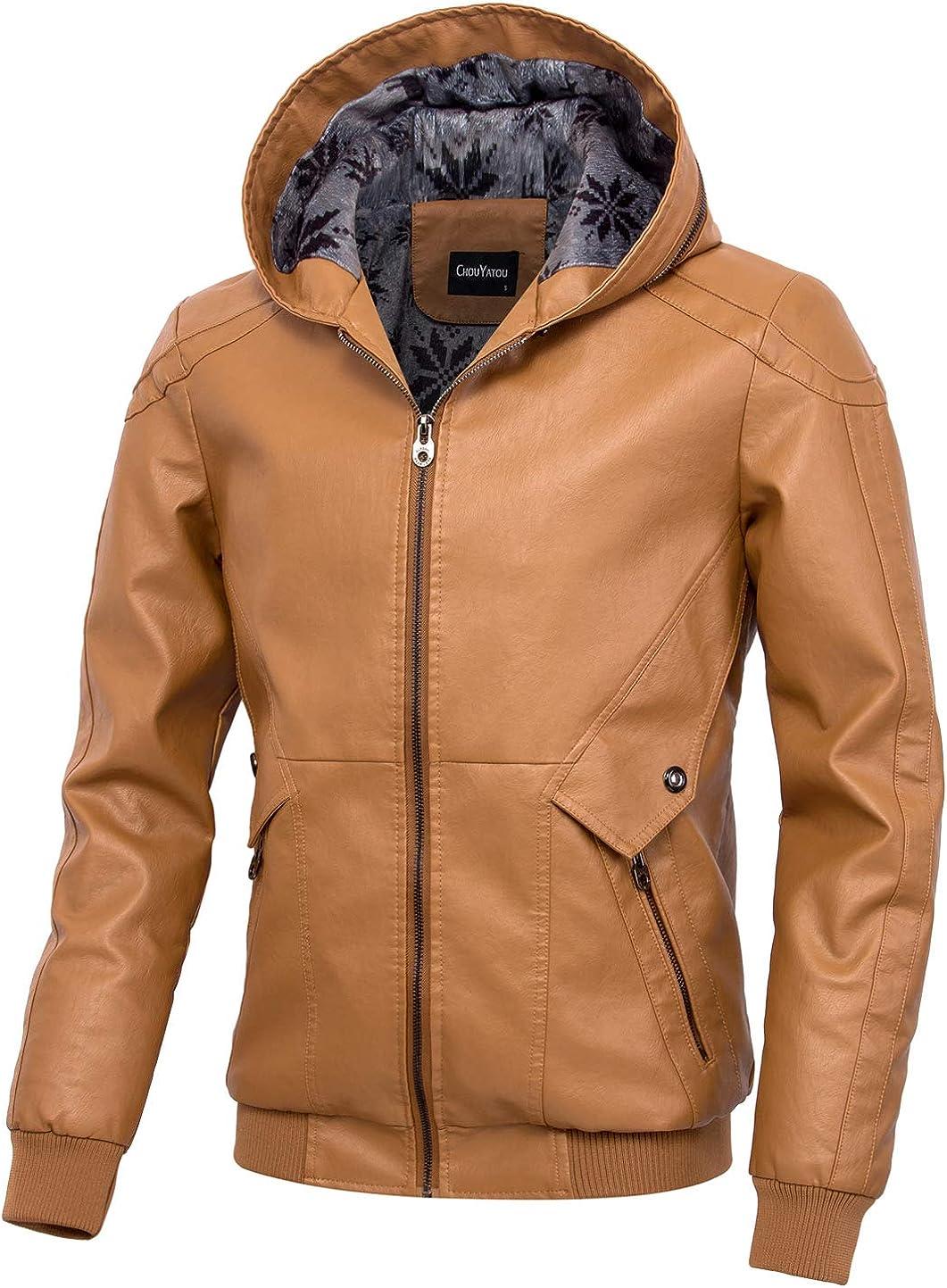 chouyatou Men's Winter Stylish Hooded Full Zip Fleece Lined Motorcycle Pu Leather Biker Jacket