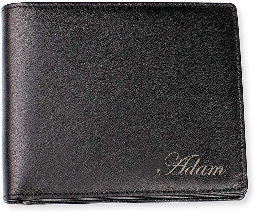 Personalized OFFicial site Men's Black Leather Engraved Wallet Bi-fold Clearance SALE Limited time Custom
