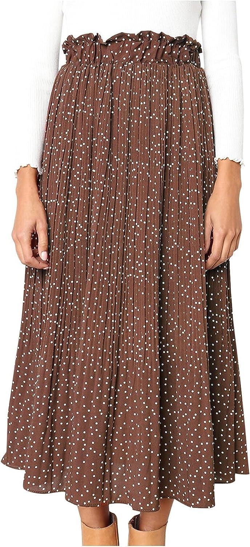 Women's Elegant High Waist Polka Dot Pleated Skirt Casual Midi Maxi Swing Skirt…