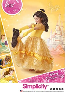 Simplicity 8407, Disney Beauty and the Beast Princess Belle Halloween Costume for Girls and Dolls Sewing Pattern, Sizes 3-8
