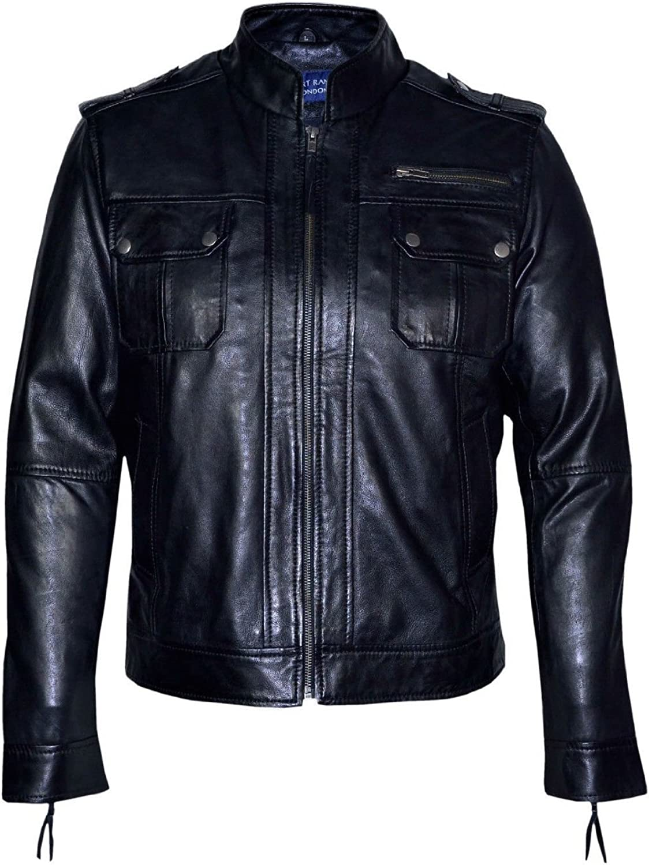 Men's Classic Style Black Biker Designer Casual Italian Soft Leather Jacket 2622