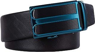 Dubulle Slide Buckle Mens Belt Full Grain Leather Belt for Men Italian Fashion Black Ratchet Belt for Jeans