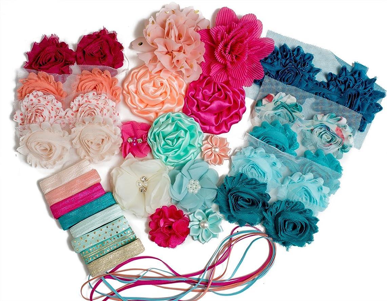 Soda Shop Girl : Headband Kit Makes 20+ Unique Hair Accessories : Shabby Chiffon Craft Roses Elastics : Parties & Baby Showers : Pink Peach & Aqua Mint