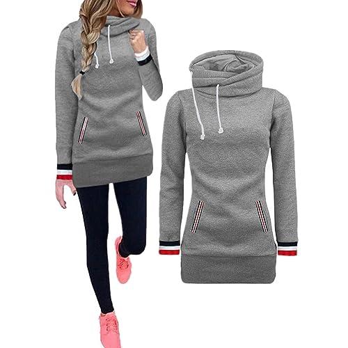 c53c3b6b74f HIKARE Women s High Neck Collar Fleece Pullover Long Hoodies Sweatshirts  Dress Sweater Coat with Pockets