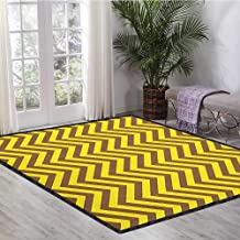 Yellow Chevron Abstract Design Area Rug,Vintage Graphic Country Design Classical Tile Old Fashioned Pattern Print Provides Protection and Cushion for Floors Brown Yellow 47
