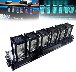 AACXRCR Nixieチューブクロック RGB、LEDデジタル時計停電保護、6人グローチューブ時計、ボーイフレンド、デスクトップデコレーションのギフト