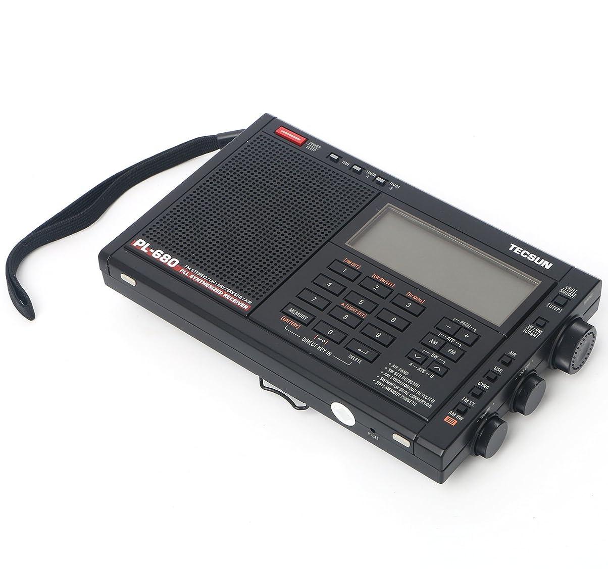 ペダル紫の船尾TECSUN PL-680 SSB?エアバンド?同期検波 ハイエンド短波ラジオ ポータブルBCL受信機 FMステレオ/AIR/LW/MW/SW PLLシンセサイザー ワールドバンドレシーバー 2000局プリセットメモリー デュアルコンバージョン ATSオートプリセット スリープタイマー アラーム (ブラック)
