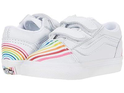 Vans Kids Old Skool V (Infant/Toddler) ((Flour Shop) Rainbow/True White) Kids Shoes