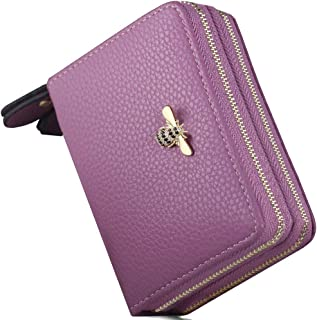Womens RFID Genuine Leather Large Capacity Luxury Blocking Multi Credit Card Zipper Wallets Holder Security Travel Wallet