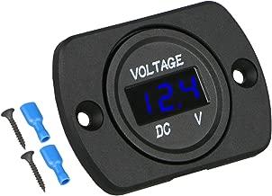 Linkstyle DC 12V 24V Car Voltmeter with LED Digital Display Panel, Waterproof Voltage Gauge Meter with Terminals for Boat Marine Vehicle Motorcycle Truck ATV UTV Car with Blue Light
