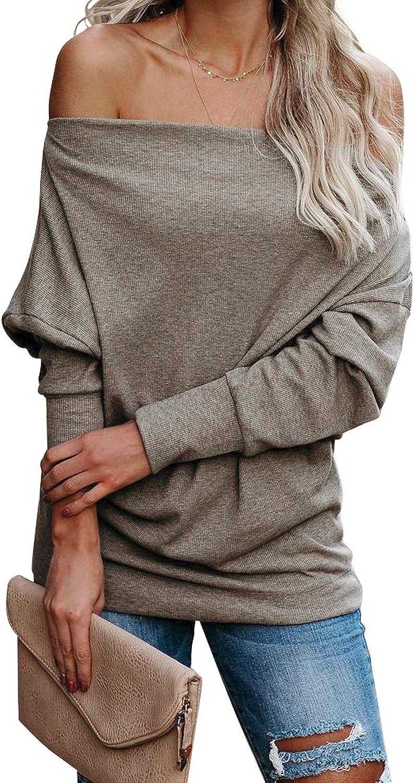 Zecilbo Women's Zipper Batwing Off Shoulder Knit Sweatshirt Long Sleeve Pullover Loose Blouses Tops