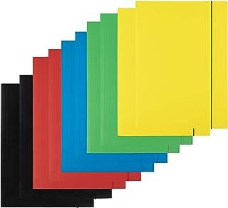 D.RECT Lot de 10 (2 pièces par couleur 5 x 2) Chemise en carton   Chemise avec élastique pour DIN A4   3 rabats 300 g