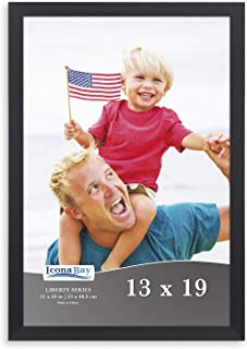 Icona Bay 13x19 Frame (1 Pack, Black), Sturdy Wood Composite Frame, Wall Hang Hooks Included, Black Picture Frames, Liberty Collection